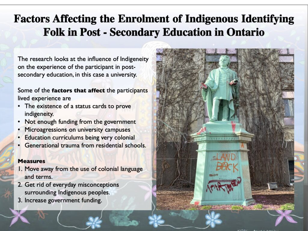 This post looks at factors that affect the enrolment of Indigenous Identifying folk in post-secondary education in Ontario. It talks about findings and measures.