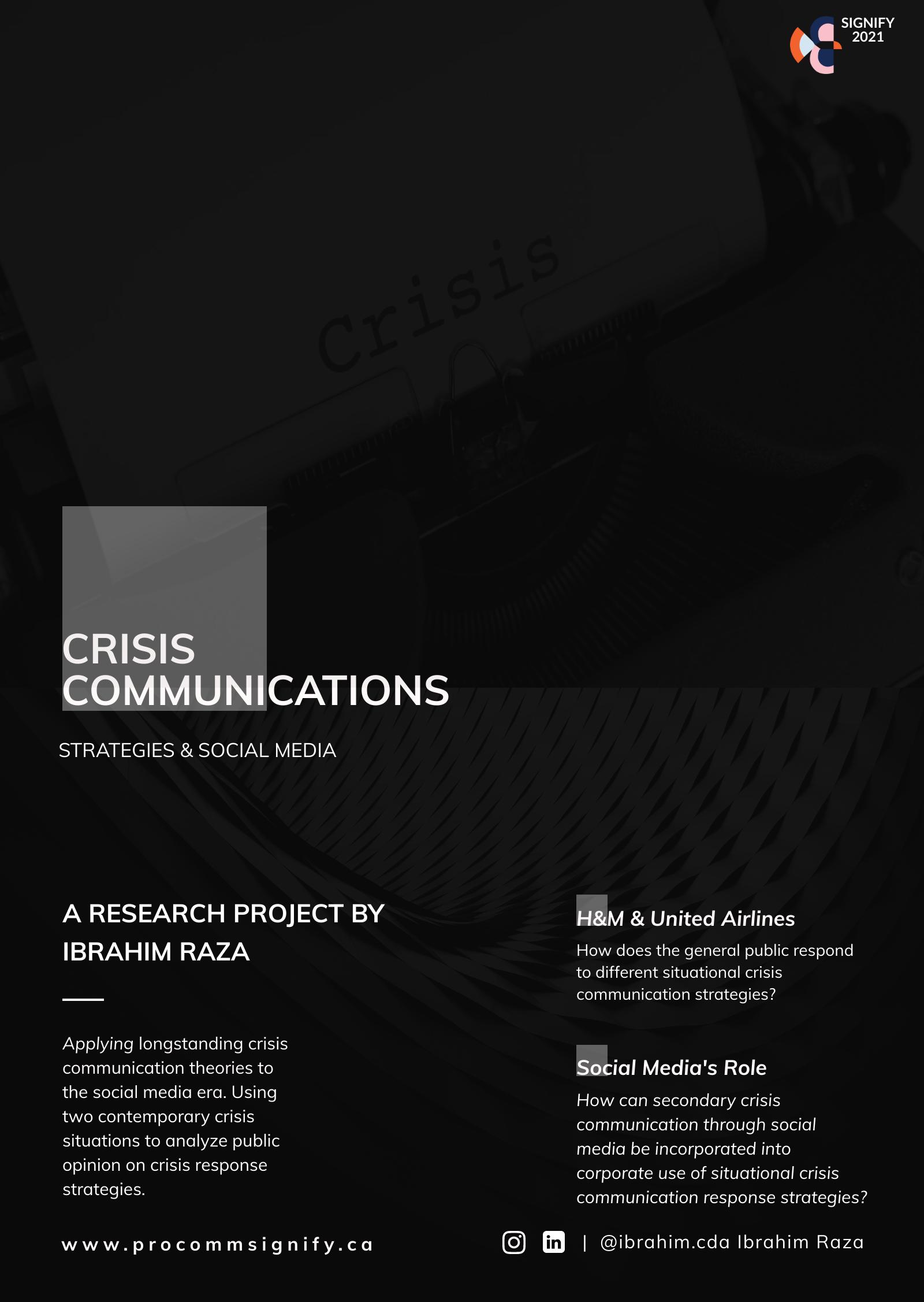 Crisis Communication Strategies & Social Media: An Application of Situational Crisis Communication Theory